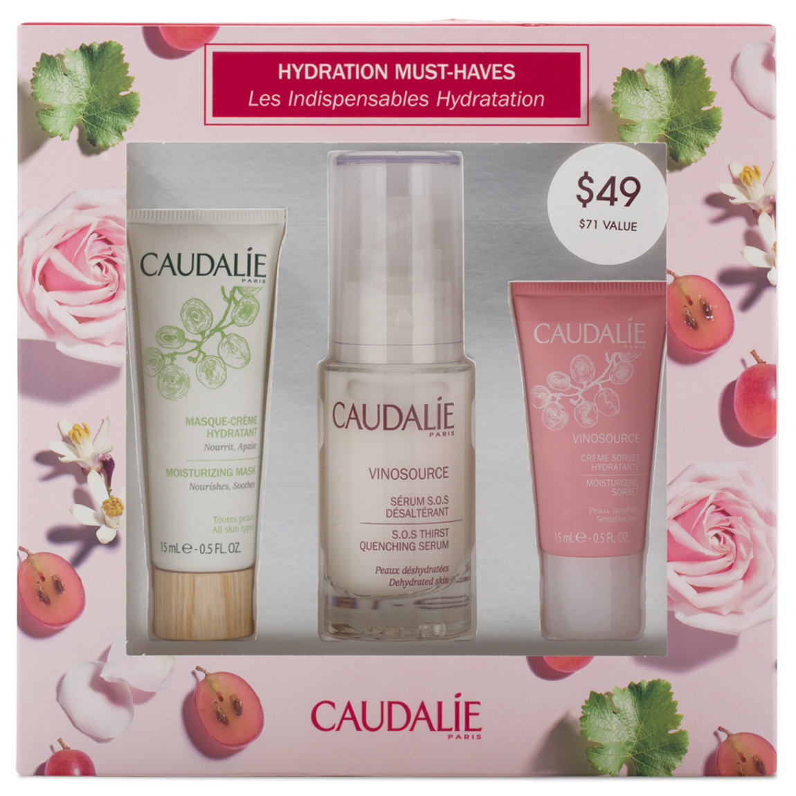 Caudalie Vinosource Hydration Must-Haves Set product smear.