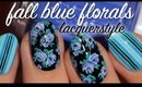 Fall Blue Floral Nails | Lacquerstyle