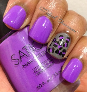 Neon purple creme with leopard print nail art using China Glaze Recycle