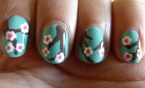 Cherry Blossom nails.. Tutorial; http://nailsbystephanie.blogspot.com/2011/06/tutorial-cherry-blossom.html