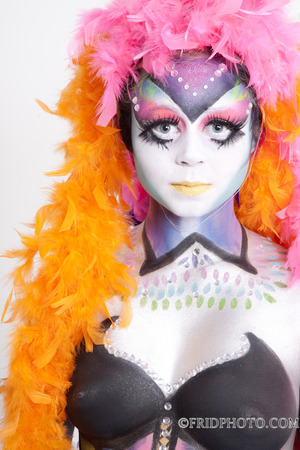 Bodypainting inspired by Kevin, the colorful bird from the movie Up. ©fridphoto
