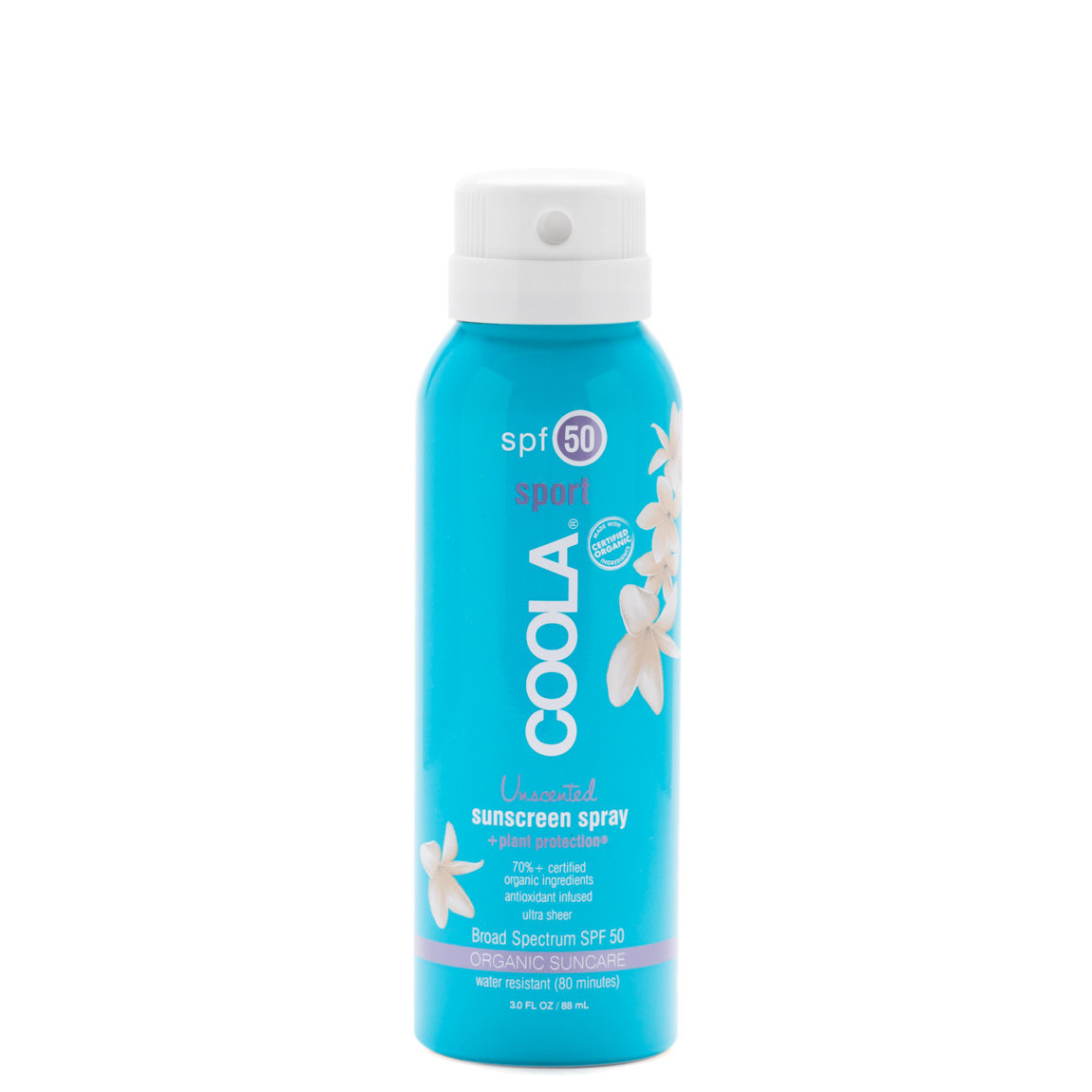 COOLA Travel Sport Sunscreen Spray SPF 50 Unscented product swatch.