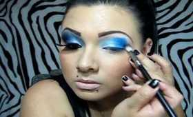 silver blue and black make up look