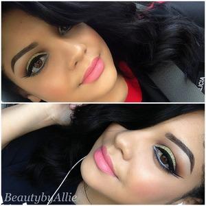 Instagram: Beautybyallie  Eyes: Anastasia Beverly Hills lavish palette and Mac 3D gold glitter. Lips: Viva Glam Nicki 1