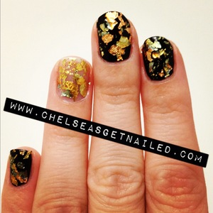 What I Used: -Essie Licorice -Gold leaf from michaels craft store -Seche Vite top coat