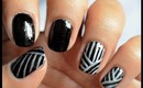Black and Silver - Striping Nail Art Designs