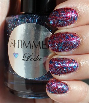 See my in-depth review & more swatches here: http://www.swatchandlearn.com/shimmer-leslie-swatches-review-layered-over-a-england-rose-bower/