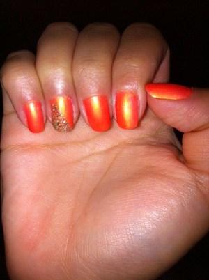 Neon orange with glitter detail