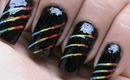 Rainbow nail art designs with how to use striping tape tutorial --cute nail polish designs video DIY