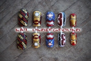 Just in time for the new release! Iron man 3 hand painted nail art!  See how they're made: http://youtu.be/VQ_nyJaODlw  Buy them here: Nailunderground.etsy.com