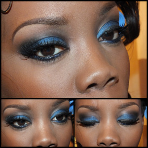 A dark vibrant blue and black smokey eye