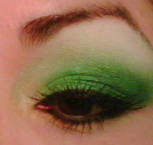 -Green Ca$h Gold I used Sugarpill Cosmetics -Magpie at the outer corner for a dramatic look