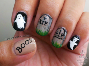Ghost and tombstone nails...totes appropriate for Halloween! =)