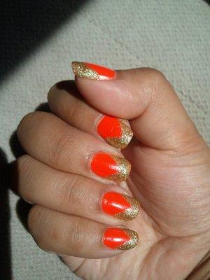 Orange and Gold V Tips
