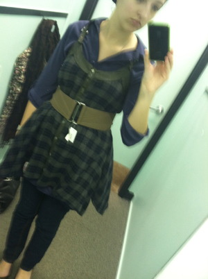 Very cute, silk shirt, plaid jumper with steel accents. Love love love this outfit!
