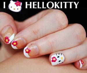 Hello Kitty Nails Tutorial: http://www.youtube.com/watch?v=cQPmdzjpgcs -I used: base coat, white, yellow, pink polish, black nail art pen, brush. top coat. For especific brands/names please watch my tutorial.