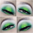 St. Patrick's day green eye makeup.