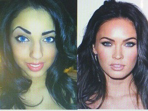 makeup inspired by this photo of my fav Megan Fox   (and yes i edited my eyes)
