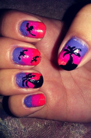 a bright color gradient with palm trees and birds :)