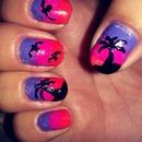 palm tree summer nails!!