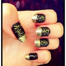 Gold and Black Glitter nails