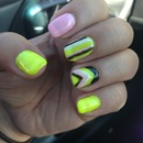 Neon yellow pink stripes