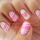Candy Cane nails with Heart Accent