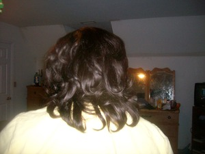 This was a wig i made and styled for my cousin. it was 10 in of human hair. She loved the look