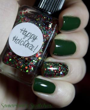 Lynnderella Happy Holo-Daze & China Glaze- Holly Day  http://samariums-swatches.blogspot.com/2011/12/china-glaze-holly-day-lynnderella-happy.html