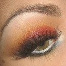 Fire Red & Orange smoky eye make-up