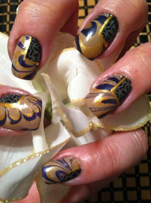 water marble and block out design