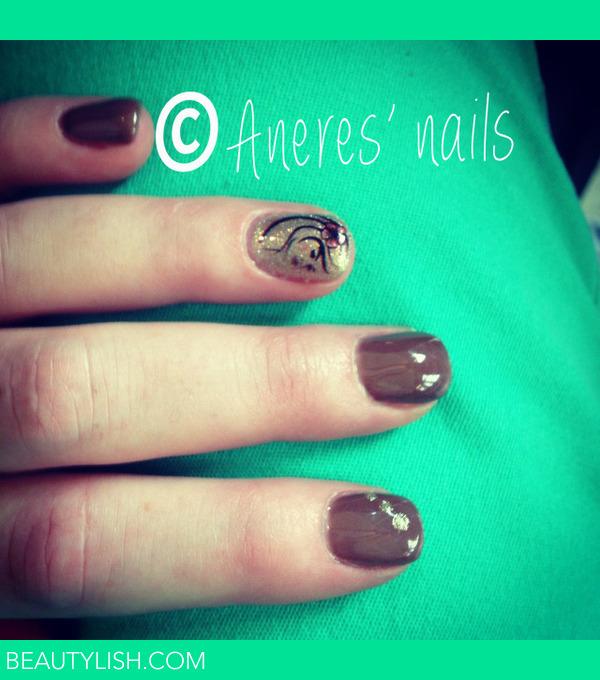 Brown Gel Nails With A Printed Nail Art Serena Ss Photo Beautylish