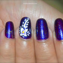 Purple and White Flower Nail Art