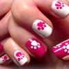 Hello Kitty Paw Print Nail Art