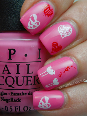Valentines Day mani created using a stamping plate. More information can be found on my blog post: http://www.lacquermesilly.com/2013/02/18/chickie-birdie-love/