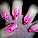 Nails - Hot Pink, Black and White, Splatter, Paint