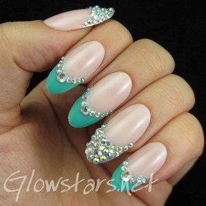 Read the blog post at http://glowstars.net/lacquer-obsession/2015/02/turquoise-rhinestone-french-tips/