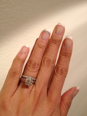 natural french nail, using white base and sheer pink on top.