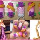 Unha inspirada na Rapunzel