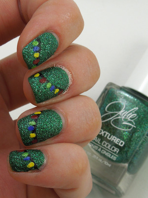 Tree Lights over textured polish. More information can be found on my blog post: http://www.lacquermesilly.com/2013/12/04/nail-polish-canada-2013-holiday-nail-art-challenge-week-2-decorations/