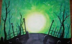 Easy Halloween Graveyard Speed Painting w. Acrylic