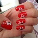 Red and white flower nails