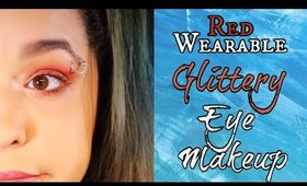 Red Glitter Eye Makeup Tutorial (NoBlandMakeup)