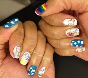 Rainbow http://2thelastdrop.com/2012/01/10/31-day-nail-challenge-day-9-rainbow-nails/