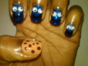 "Cookie Monster Nails......made with my own nail polish ""Lagoon"" by Lacquery"