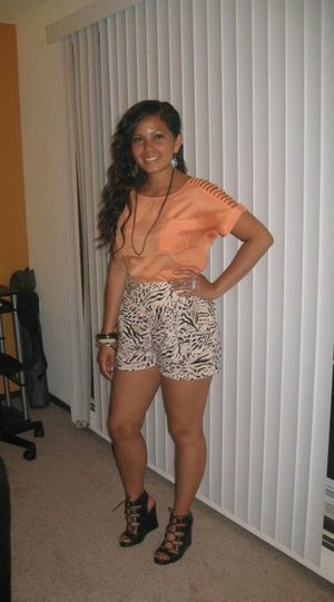 H&M shorts, Heartbreaker top, Guess Wedges
