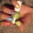 Checkered rainbow nails