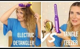 ELECTRIC DETANGLING BRUSH  VS TANGLE TEEZER: BATTLE OF THE HAIR DETANGLER BRUSHES. WHO WINS?