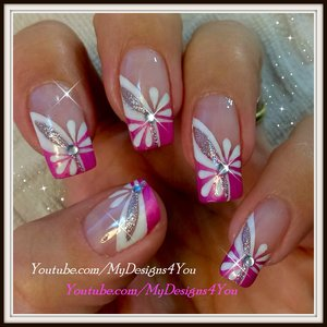 Floral Pink Nail Art | Spring-Summer Nails #nailart #floralnails #mydesigns4you #summernails #springnails #pinknails