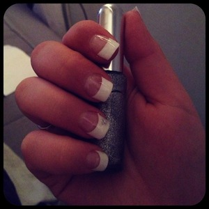 French manicure with silver flower